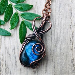 Labradorite copper wire wrapped pendant necklace